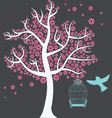 tree with birdcage vector image vector image