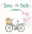 wedding invitation template with cute bike vector image