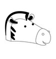 zebra cartoon head in black dotted silhouette vector image vector image