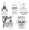 set of tequila labels in vintage style vector image