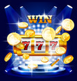 big win or jackpot - slot machine and coins vector image