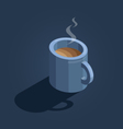 blue cup of coffee on navy background isometric vector image vector image