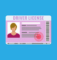 car driver license identification card with photo vector image vector image