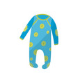 cartoon icon of blue baby romper with green round vector image