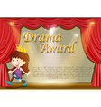 Certificate template with girl on stage vector image vector image