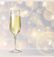 champagne glass on holiday silver background vector image vector image