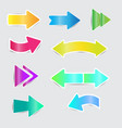 color bright arrow stickers with shadow vector image