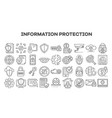 computer security icon set outline style vector image