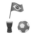 country brazil monochrome icons in set collection vector image