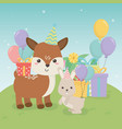 cute fawn and rabbit in birthday party scene vector image vector image