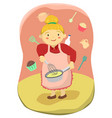 cute mother cooking cupcakes vector image vector image