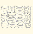 doodle cooking equipment and kitchen utensils vector image