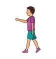 drawing boy kid walking avatar vector image