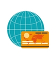 earth globe diagram and credit card icon vector image