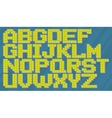 English yellow and blue pixel alphabet set vector image vector image