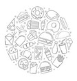 fast food circle background from line icon vector image