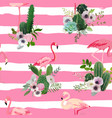 flamingo bird and tropical cactus seamless pattern vector image vector image