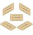 flat isometric cinema ticket movie theater vector image