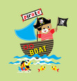 funny bear pirate cartoon on the boat vector image vector image