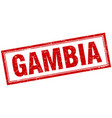 gambia red square grunge stamp on white vector image vector image