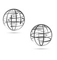 global network land on white background vector image
