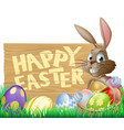 happy easter sign bunny vector image vector image