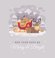 happy santa claus reindeer lying down near a vector image vector image