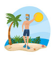 man wearing bathing shorts with snorkel masks and vector image vector image