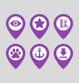 map pin location icons set on gray background vector image vector image