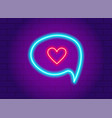 neon glowing heart in a speech bubble vector image vector image