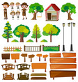 park rangers and tree products vector image vector image