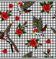 pattern of flying bird and red roses stickers vector image vector image