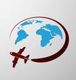 plane flies around earth vector image vector image