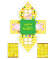 printable gift easter house with banny eggs and vector image vector image