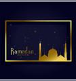 ramadan kareem islamic month card design vector image vector image