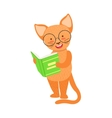 Red Cat Smiling Bookworm Zoo Character Wearing vector image vector image