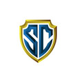 s c shield logo designs for protection service vector image