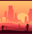sandy desert with rocky mountains and cactus vector image vector image
