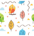seamless pattern cute little bird vector image