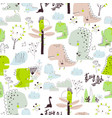 seamless pattern with cartoon dinosaurs isolated vector image vector image
