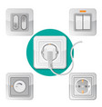 set light on off switches power socket vector image
