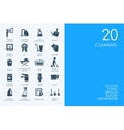 Set of BLUE HAMSTER Library cleaning icons vector image