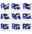Set of Marshll Islands flags in the air vector image vector image