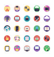 set of network and hosting flat icons vector image