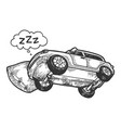 sleeping car on pillow engraving vector image vector image