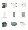 smart technology icons set cartoon style vector image