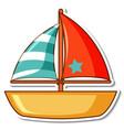 sticker sailboat toy on white background