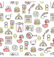 thin line art cooking seamless pattern vector image vector image