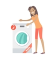 Woman Buys Washing Machine in Flat Style Isolated vector image vector image