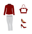 woman red outfit set vector image